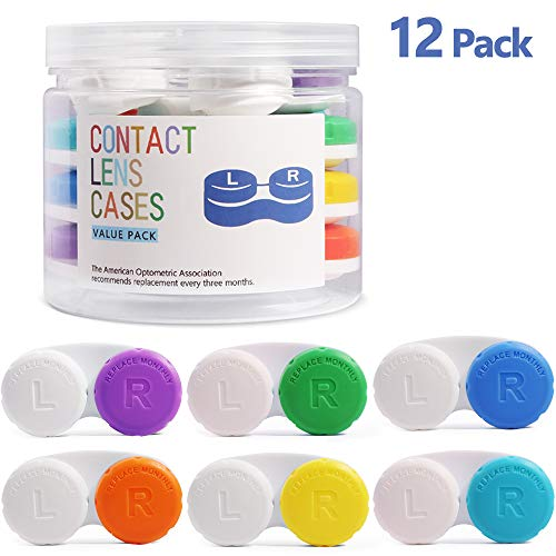 Contact Lens Cases 12 Pack, Opret Contact Lens Holder Box Travel Kit 1-Year Bulk Supply Value Pack with A Storage Container and A Tweezers Set