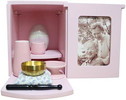 ミニ仏壇 モダン BOX ピンク仏具セット(ピンク)+おりん(こりん) おもいでのあかし 花瓶