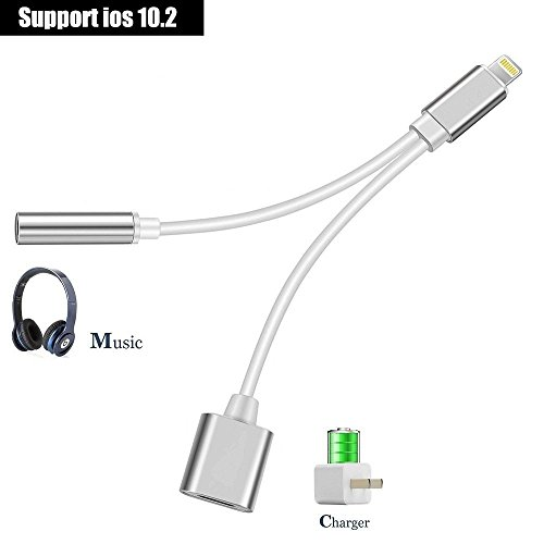iPhone 7 Adapter, AKwor 2 in 1 Lightning Adapter and Charger, Lightning to 3.5mm Aux Headphone Jack Audio Adapter for iphone 7, 7 plus - Not Support ios 10.3 and Later - Silver -  43222-6735