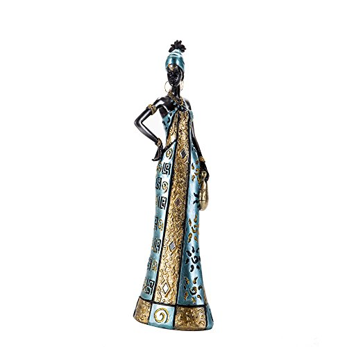 Redeco Full-Dress Decorative African Female Doll Figurine, Tribal Women Sculpture, Indoor Home Office Tabletop Decoration, Carrying Canteen