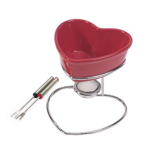 Chantal 2 Cup Chocolate Heart Fondue, Red
