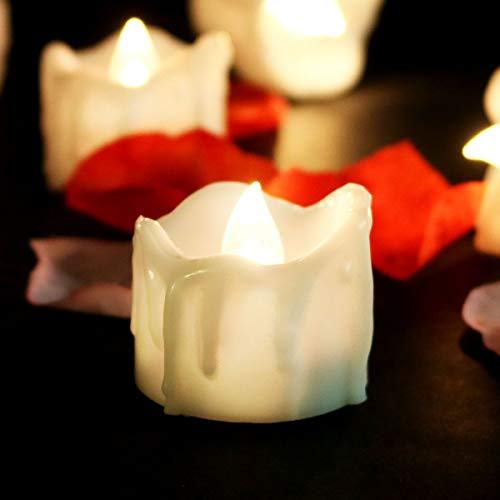 Pack of 12 Realistic Fake Flameless Candles with Timer Flickering Battery Operated Mini Led Candles 1.4 Inch Electric Tea Lights for Candelabra Table Centerpieces Window Event Home Decor -