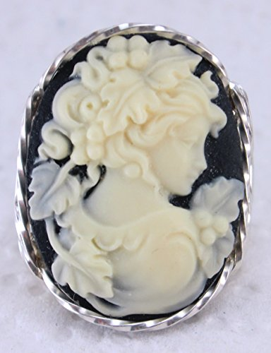 Grecian Goddess Grapes Large Cameo .925 Sterling Silver Ring Black US Ring 5-14