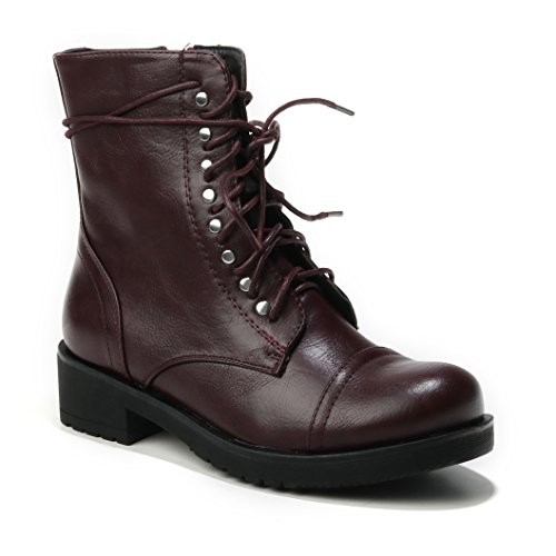 Damen halbhoche Red Nieten Flache Stiefeletten Reissverschluss Schnürboots Schuhe HERIXO Boots Schnürer d6wCAYqd