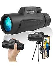 Moocuca Monoculaire telescoop, 12x50 HD waterdichte monoculaire, High Power BAK4 FMC prismatelescoop met smartphonehouder en verstelbaar statief voor mobiele telefoon voor vogelkijken jacht wandelen kamperen