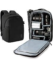 Camera Backpack, BAGSMART DSLR SLR Camera Bag Fit up to 13.3 inch Laptop, Water Resistant with Splash Cover, Tripod Holder for Women and Men, Black