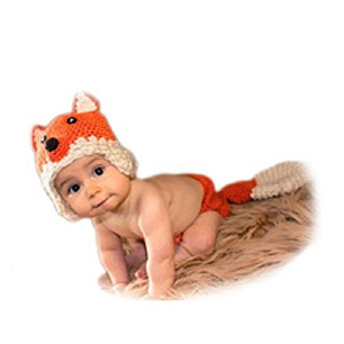 Newborn Baby Girl/Boy Crochet Knit Costume Photo Photography Prop Hats Outfits (Fox) -