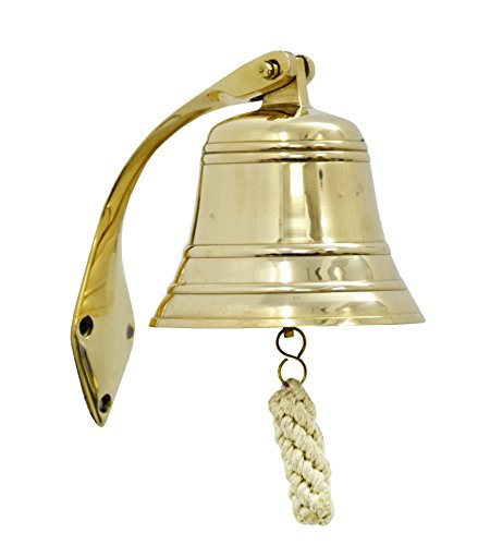 Brass Nautical Solid Brass Ships Bell / Nautical Bell, Polished Lacquered Finish by Brass Nautical