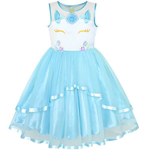 Girls Dress Unicorn Pageant Holiday Blue Tutu Princess 4 ()