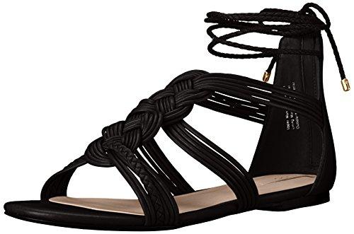 Aldo Women's Rosania Flat Sandal, Black Synthetic, 7 B US