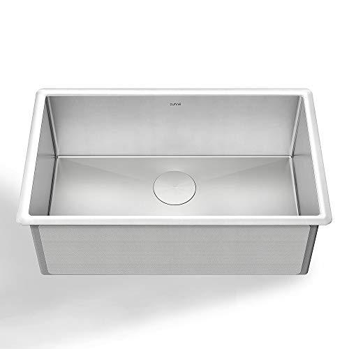 ZUHNE Modena 30 Inch Single Bowl Undermount 16 Gauge Stainless Steel Kitchen Sink W. Grid, Caddy, Colander, Strainer (Fits 33