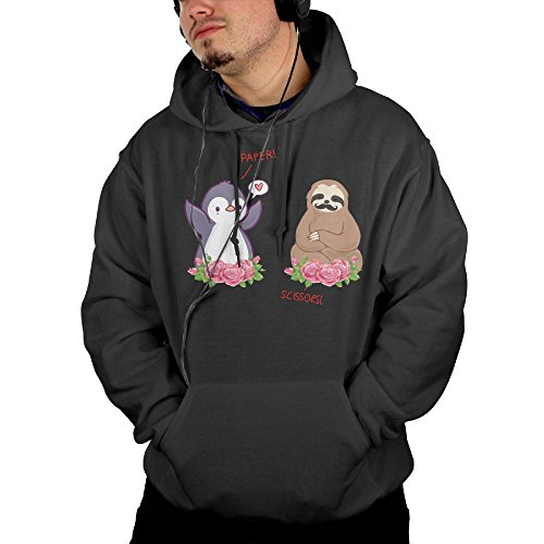 Sloth and Penguin Playing Rock Paper Scissors Men's Pullover Hooded Sweatshirt Soft Hoodies With Pocket - Uk Sunglasses Penguin