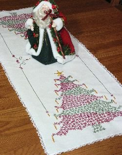Fairway Stamped Lace Edge Table Runner, 15 by 42-Inch, Christmas Tree