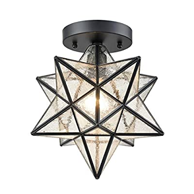 AXILAND Flush Mount Ceiling Lights with Seeded Glass Shade