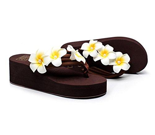 YOUJIA Mujeres Boho Flores Chanclas Verano Playa Zapatos de cuña Plataforma Zapatillas #6 Café