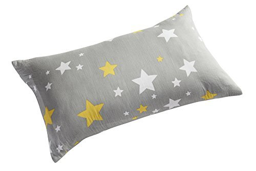 Kachabros Kids Toddler Pillowcases 2 Pack 100% Cotton Pillow Cover Cases 13'' x 18'' for Kids Bedding Gray Elephant and Yellow Stars