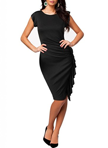 Minetom Damenkleid Volant Kleid Etuikleid Cocktailkleid Abendkleid Business Tops Schwarz
