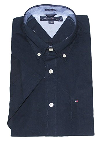 tommy-hilfiger-mens-classic-fit-short-sleeve-woven-shirt-navy-blazer-xl