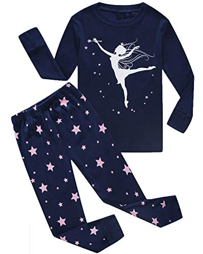 Glow In The Dark Girls Pajamas (Girls Pajamas Girl Dance Glow in The Dark Kids Pjs Cotton Toddler Clothes Size 5)