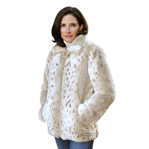 Sheldon G International Tissavel Faux Fur Animal Print Insulated Jackets (Medium, Lynx)