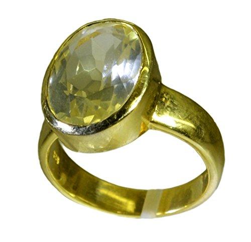 (Natural Oval Shape Lemon Quartz Ring Gold Plated Handmade For Gift Bezel Style Size 5,6,7,8,9,10,11,12)