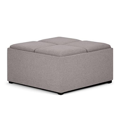 Simpli Home AY-F-07-CLG Avalon 35 inch Contemporary Square Storage Ottoman in Cloud Grey Linen Look Fabric