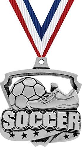 サッカーメダル – 2インチ シルバーセカンドプレイスエクリプティックメダルアワード 100個パック B07GT47Z2Q