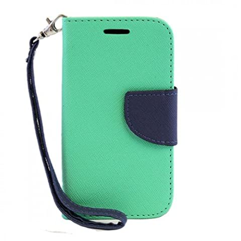 LG OPTIMUS L70 - Teal / Navy Blue - For Design Stand Wallet Flip Credit Card Case PU Leather Hybrid Cell Phone Cover Accessory + [Protech Monkey Stylus™] L41C Exceed 2 Realm Pulse Ultimate (Lg L41c Phone Case Wallet)
