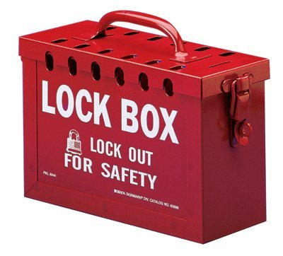 Brady Lock Box, 11 in L x 8 in H x 4 1/2 in W, Red