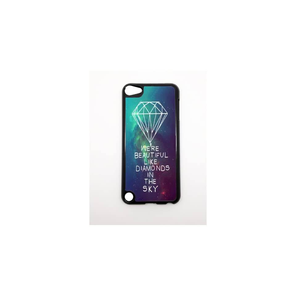 Apple iPhone 5 5G 5S Were Beautiful Like Diamonds In the Sky Nebula Stars Hipster BLACK Sides Slim HARD Case Skin Cover Protector Accessory Vintage Retro Unique