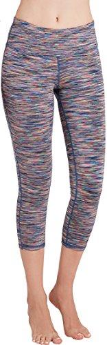 Oalka Women's Yoga Capris Power Flex Running Pants Workout Leggings Colorful L (Capri Clothes)
