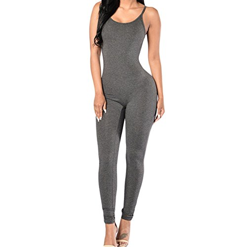 [Eiffel Sexy Women's Backless Strappy Stretch Jumpsuit Overlay Bodysuit Gray] (Stretch Jumpsuit)