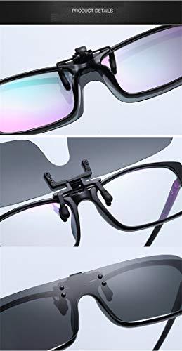 Clips de Gafas Color 5 Elegantes Mirrored exterior Mujeres Polarizadas de para cómodos Rectángulo Lens en conducción pesca Men sol miopes Sol y Clip Gafas xOF6qxCwY