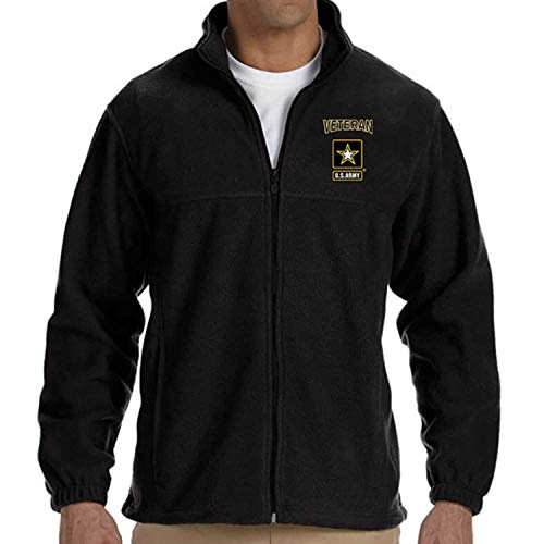 (VetFriends.Com Officially Licensed US Army Veteran Logo Embroidered Fleece Jacket (Black,)