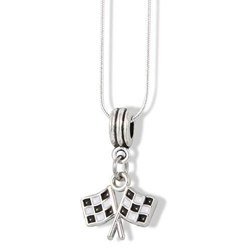 - EPJ Checkered Flags Racing Finish Line Black White Charm Snake Chain Necklace