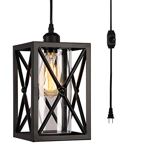 HMVPL Antique Glass Pendent Ceiling Lights with 16.4 Ft Plug in Cord and On/Off Dimmer Switch, Updated Industrial Swag Hanging Lamps for Kitchen Island Dining Room or Living Room, Black Finish