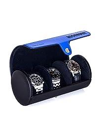 TRIPLE TREE Watch Case, Travel Watch Roll for 3 Watch, Portable Watch Organizer (Black)