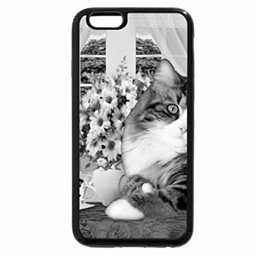 iPhone 6S Case, iPhone 6 Case (Black & White) - cute cat