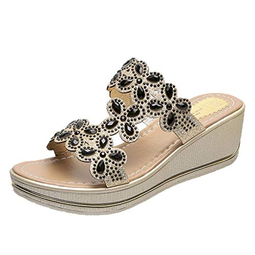 ONLYTOP_Shoes Wedges Slide Sandals,ONLYTOP Womens Comfortable Beach Shoes Bohemian Rhinestone Beaded Flip Flops Open Toe Sandals