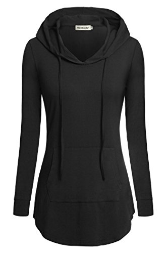 Nandashe Black Hoodie Women, Modern Misses Chic Style Scoop Neck Longs Sleeve Slimming Knit Comfortable Loose Tunic Oversized Tee Shirts Winter Underwear ()