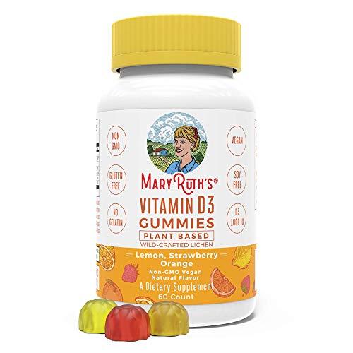 Vegan Vitamin D3 Gummy (Plant-Based) by MaryRuth's - Made from Lichen! Non-GMO, Paleo Friendly, Vegan, Gluten Free, for Men, Women & Children! 1000 IUs Vitamin D3 (60 Count 1-2 Month Supply)