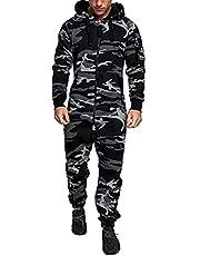 DROLA Heren Fleece Onesies Pyjama Hooded Eendelige Nachtkleding Pyjama met Zakken Camouflage Warm Winter Unisex