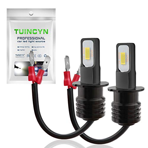TUINCYN Extremely Bright H3 LED Fog Light Bulb White 6500K 2400 Lumens 3570 CSP-Chips Daytime Running Light/DRL Driving Lamp(Pack of 2)