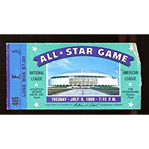 1968 MLB All Star Game Ticket 7/9 Houston Astrodome Willie Mays MVP 46225