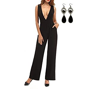 26335640d WAEKIYTL Women Jumpsuit Sexy Deep V Neck Sleeveless Wide Leg Romper