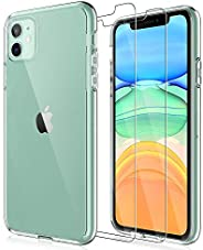 LK iPhone 11 Case with 2 Pack Tempered Glass Screen Protector Acrylic Back and TPU Bumper, Shock-Absorption -
