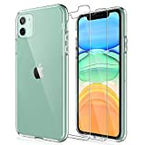 LK iPhone 11 Case with 2 Pack Tempered Glass Screen Protector [Acrylic Back and TPU Bumper], [Shock-Absorption] [Full Protection] Cover - Clear