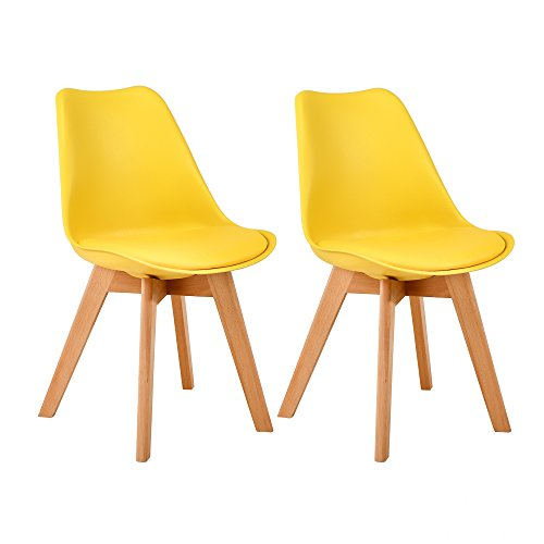 LSSBOUGHT Set of 2 Eames-Style Soft Padded Seat Dining Chairs with Solid Wooden Legs (Yellow)