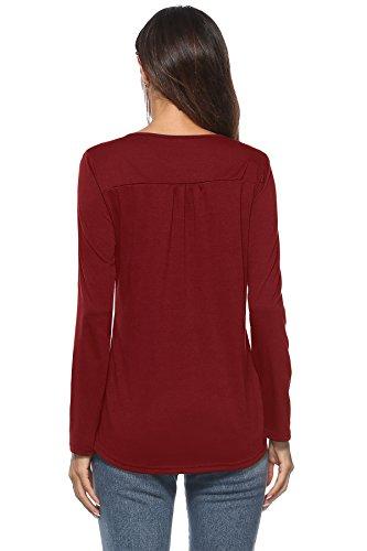 Shirt Tunika Col BonAchat Tops Chic Blouse Col Casual Rond Longues Haut T Rouge Longues Manches Manches Mode Tee Femmes Rond Bouton Hauts Shirt Tunique Basique ax7a0Uq