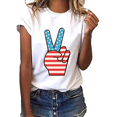 Sanyyanlsy Women's Plus Size Cute Independence Day Stars and Stripes Short Sleeve O-Neck T-Short Blouse Tank Tops Vest White ()